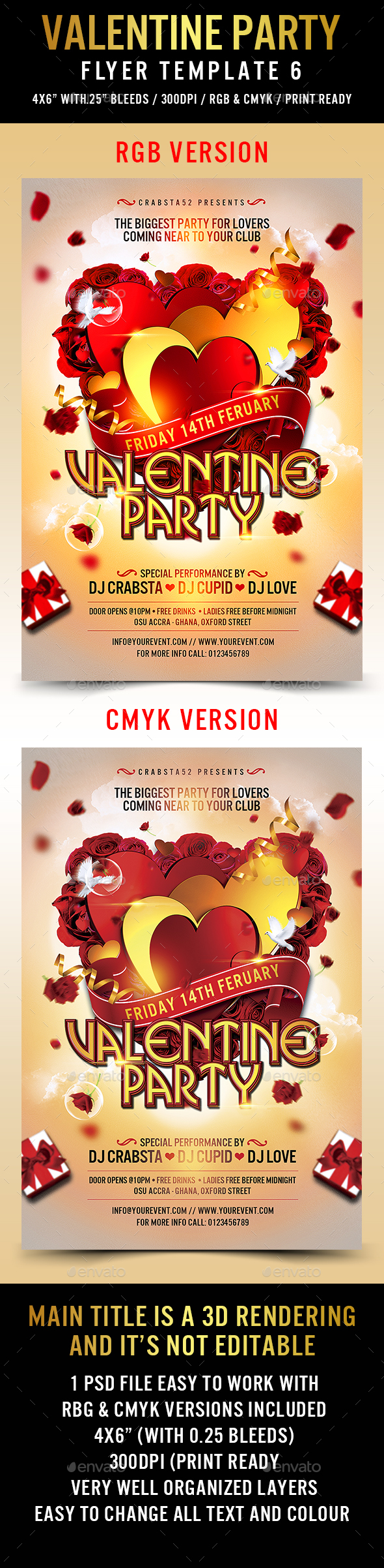 Valentine Party Flyer Template 6 - Events Flyers