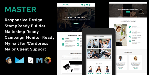 master responsive email template with stamp ready builder access by evethemes. Black Bedroom Furniture Sets. Home Design Ideas