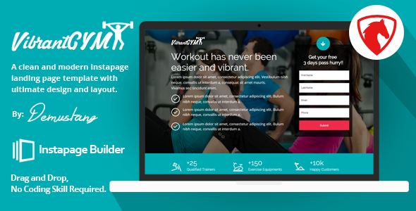 Vibrant GYM - Instapage Landing Page Template - Instapage Marketing