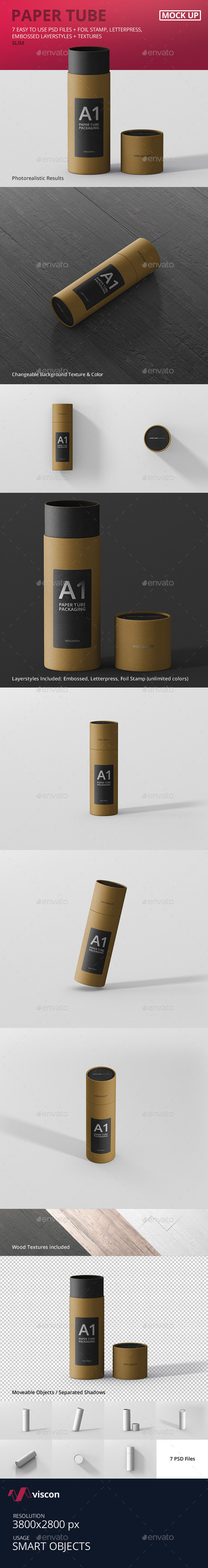 Paper Tube Packaging Mockup - Slim - Miscellaneous Packaging