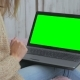Woman Using Laptop with Green Screen - VideoHive Item for Sale