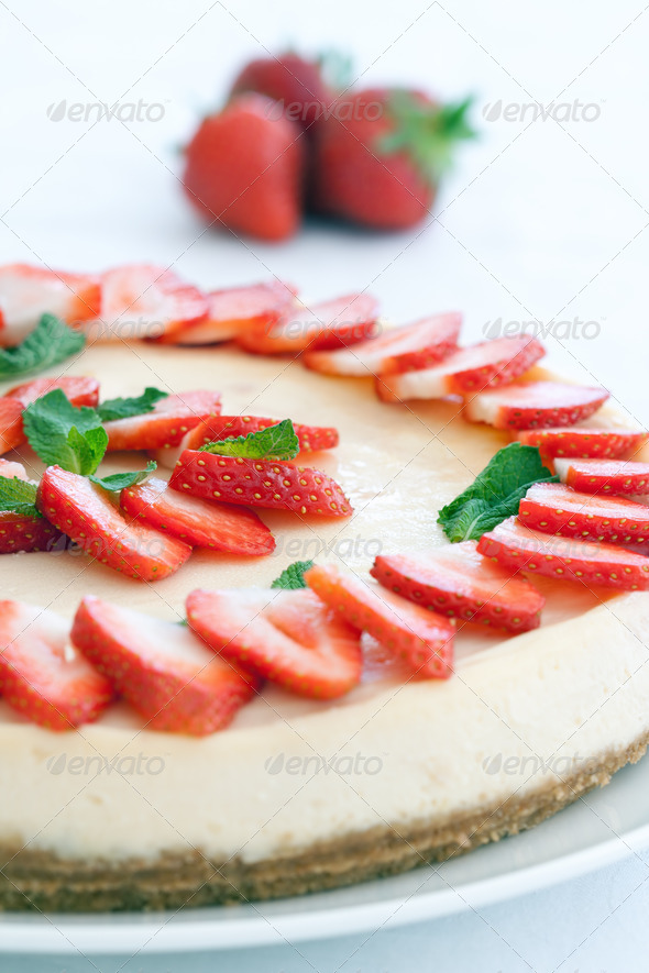 Strawberry cheesecake - Stock Photo - Images