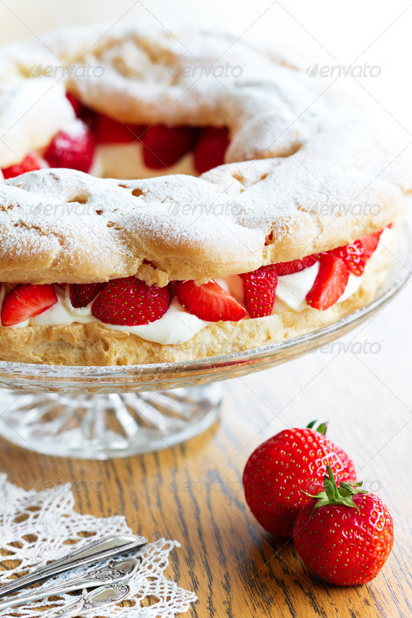 Strawberry choux pastry ring - Stock Photo - Images