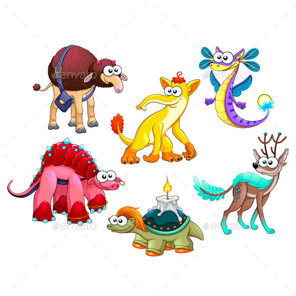Group of Strange Animals - Monsters Characters