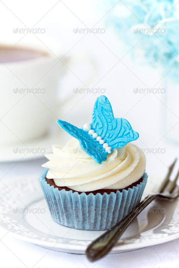 Butterfly cupcake - Stock Photo - Images