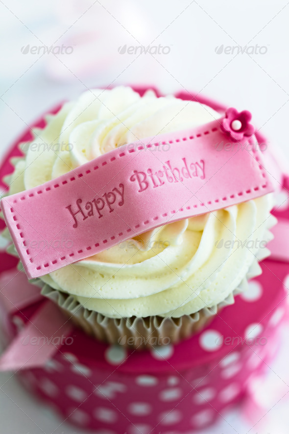 Happy birthday cupcake - Stock Photo - Images