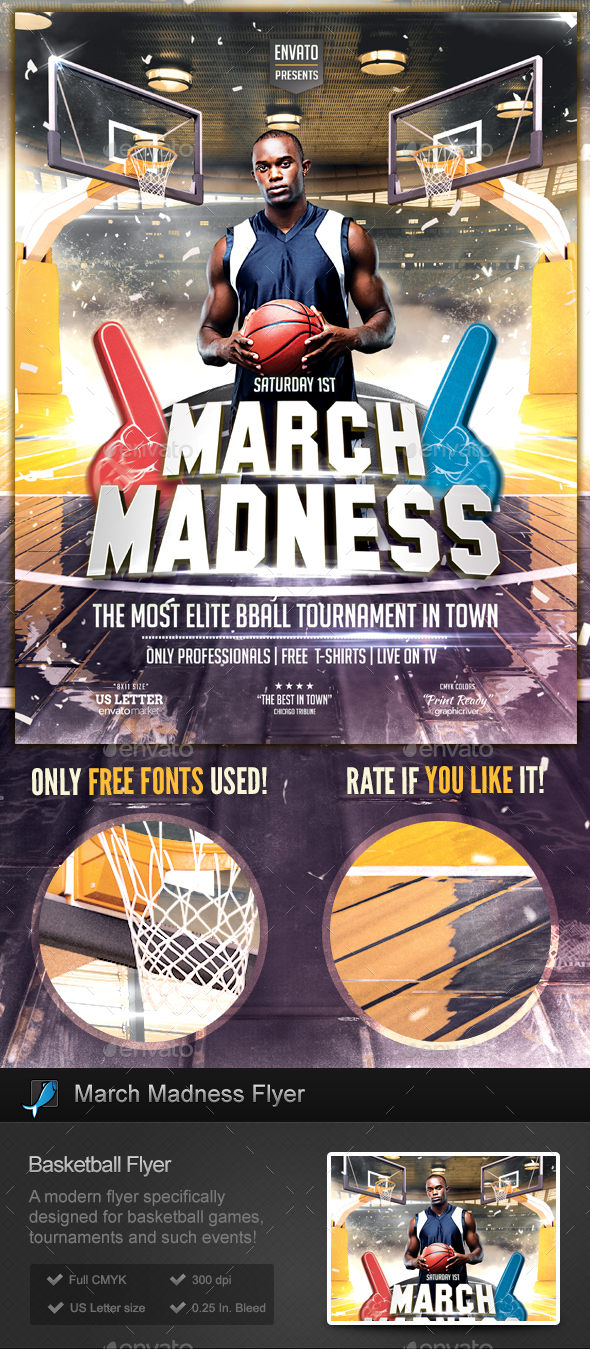 March Madness - Basketball Flyer Template - Sports Events