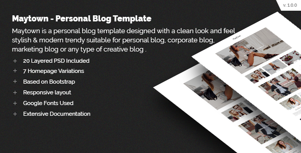 Maytown - Personal Blog Template - Personal PSD Templates
