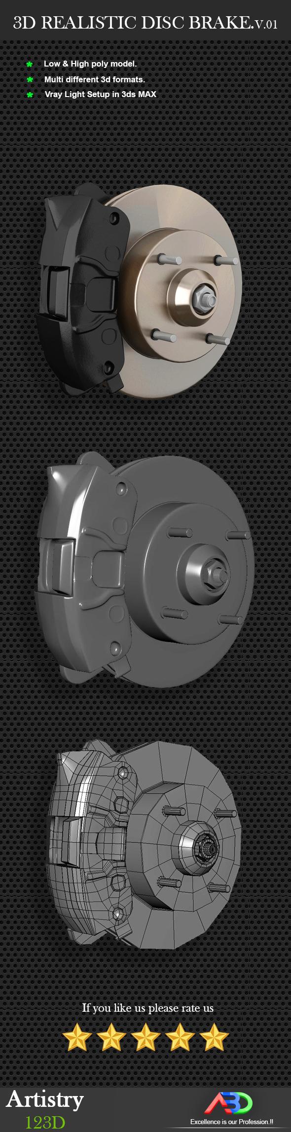 3D Realistic Disc brake Model - 3DOcean Item for Sale