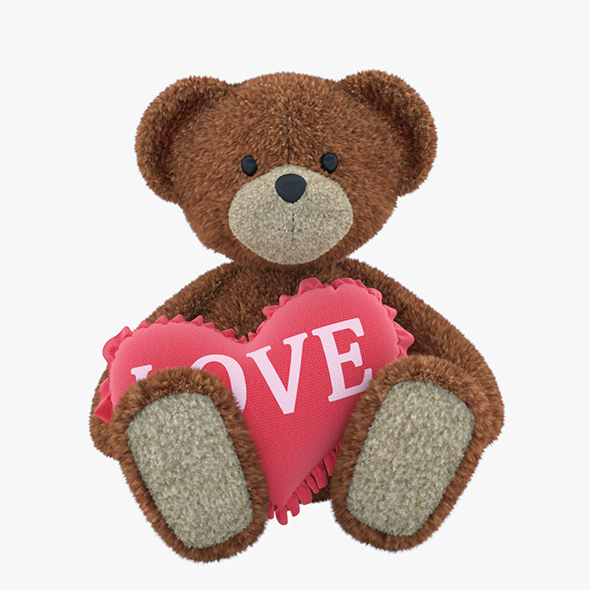 Bear Toy With Pillow-heart - 3DOcean Item for Sale