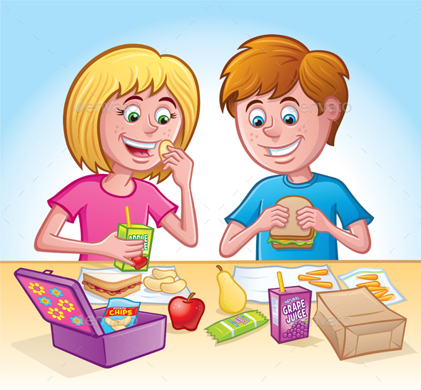 Girl and Boy Eating Lunch at School - Food Objects