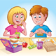 Girl and Boy Eating Lunch at School - GraphicRiver Item for Sale