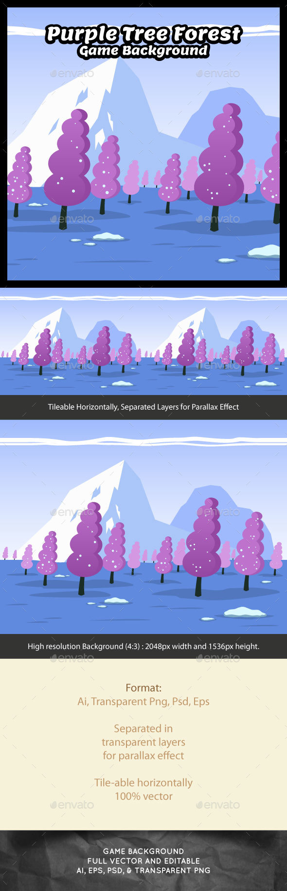 Purple Tree Forest Game Background - Backgrounds Game Assets
