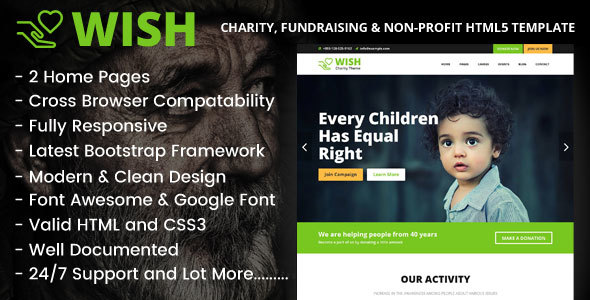 Wish – Charity, Fundraising & Non-Profit HTML5 Template