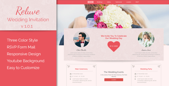 Reluve – Responsive Wedding Invitation Landing Page
