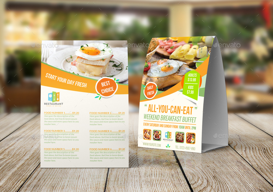 Breakfast Restaurant Table Tent Template By OWPictures GraphicRiver - Restaurant table tent template