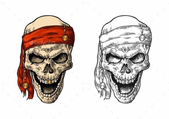 Skull Pirate in Bandana Smiling Black Vintage - Tattoos Vectors
