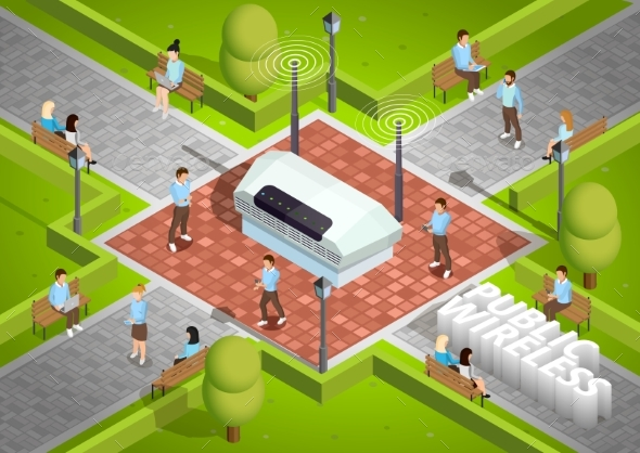Public Wireless Technology Outdoor Isometric - Miscellaneous Vectors