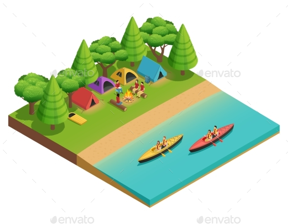 Camping Hiking Isometric Composition - Sports/Activity Conceptual