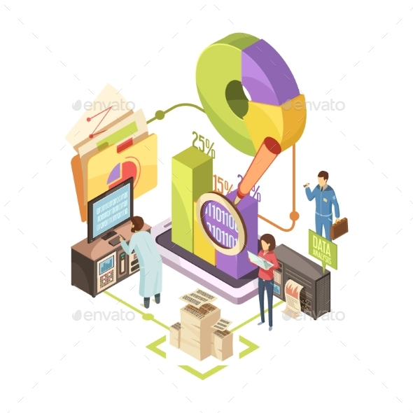 Information Center Isometric Illustration - Concepts Business