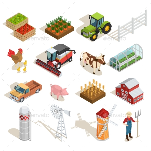 Farm Isometric Icons Collection - Animals Characters