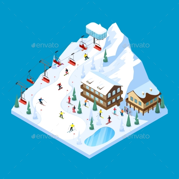 Skiing Mountain Isometric Landscape - Sports/Activity Conceptual