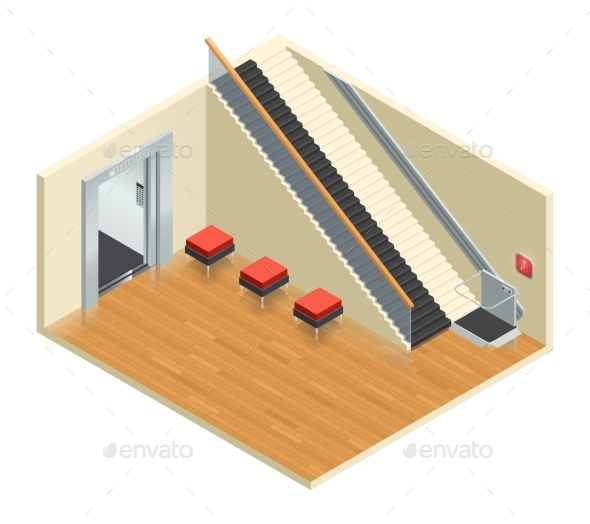 Stairway Elevator Isometric Interior - Miscellaneous Vectors