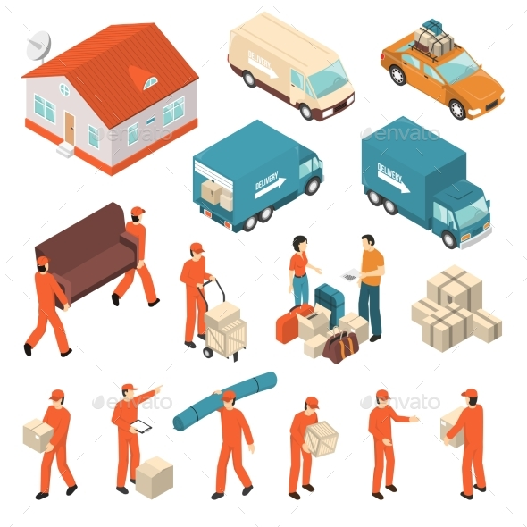 Moving Company Service Isometric Icons Set - Miscellaneous Conceptual