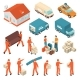 Download Vector Moving Company Service Isometric Icons Set