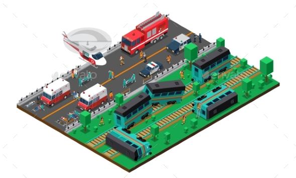 Train Wreck Isometric Design - Miscellaneous Conceptual