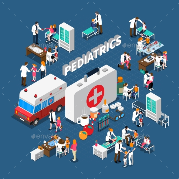 Pediatrics Isometric Composition - Health/Medicine Conceptual