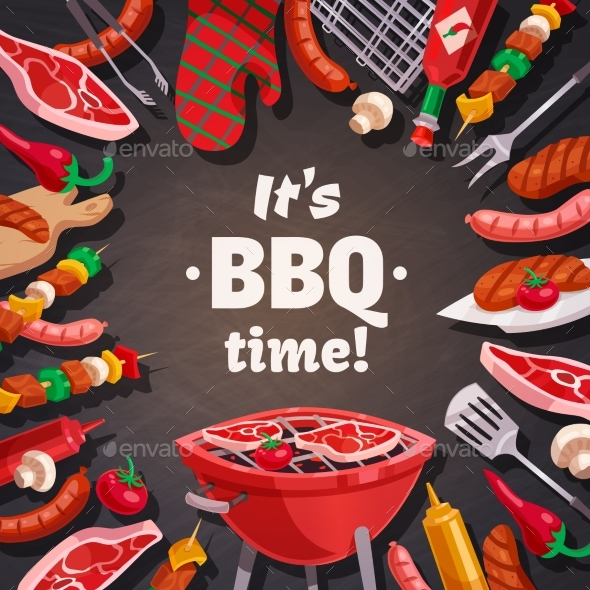 Grill BBQ Time Background - Food Objects