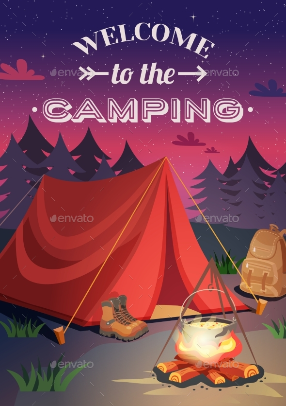 Welcome to Camping Poster - Sports/Activity Conceptual