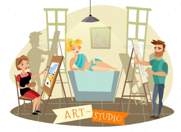 Art Studio Creative Process  Cartoon Illustration - Miscellaneous Vectors