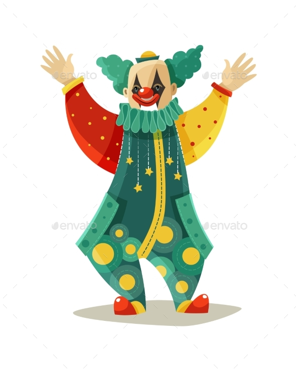 Traveling Circus Clown Colorful Icon - Miscellaneous Characters