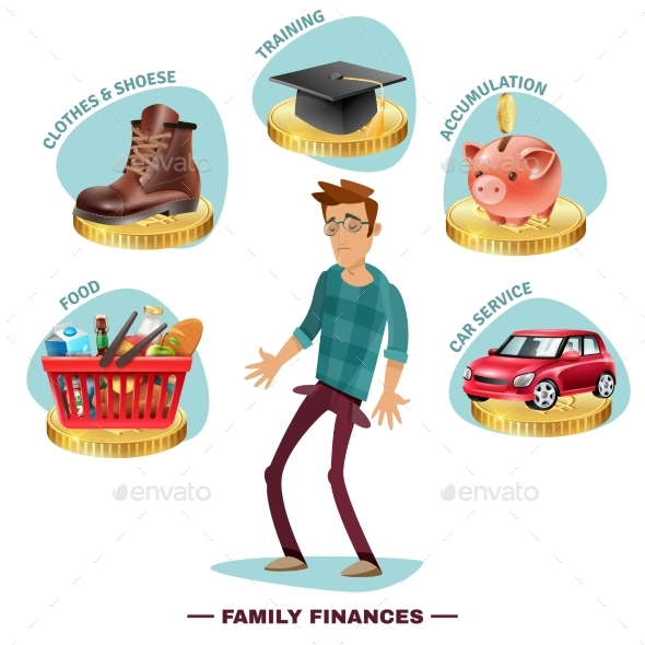 Family Budget Planning Flat Composition Poster - Miscellaneous Conceptual