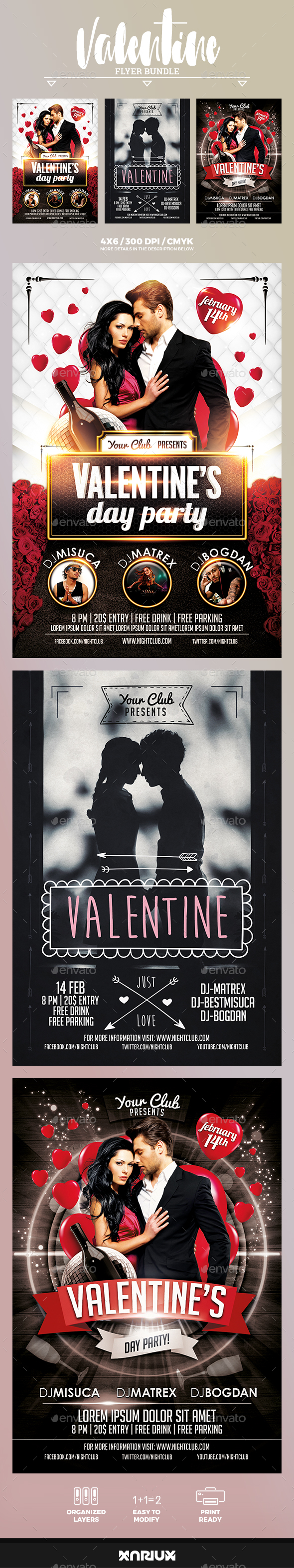 Valentine Flyer Bundle - Events Flyers