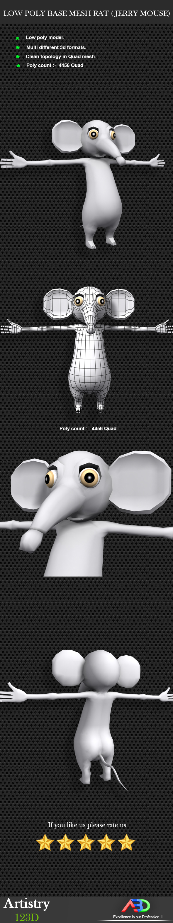 Low Poly Base Mesh RAT ( Jerry mouse) - 3DOcean Item for Sale