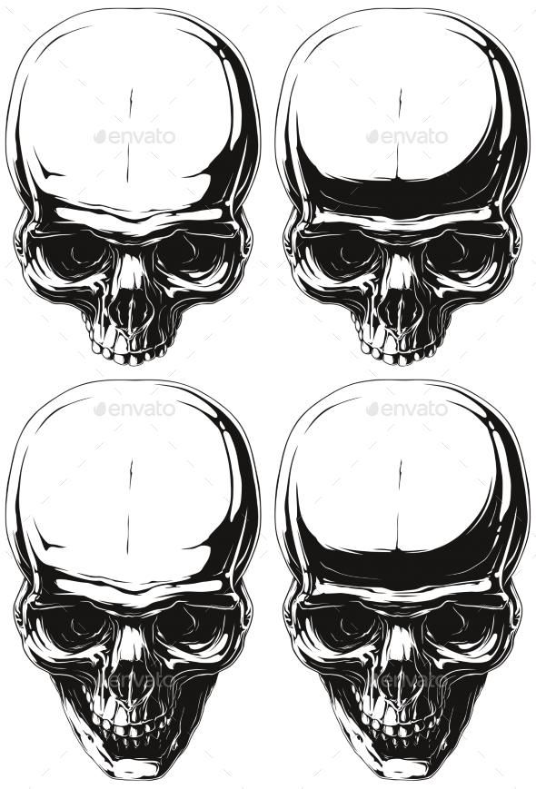 White and Black Human Skull Tattoo Set - Miscellaneous Vectors