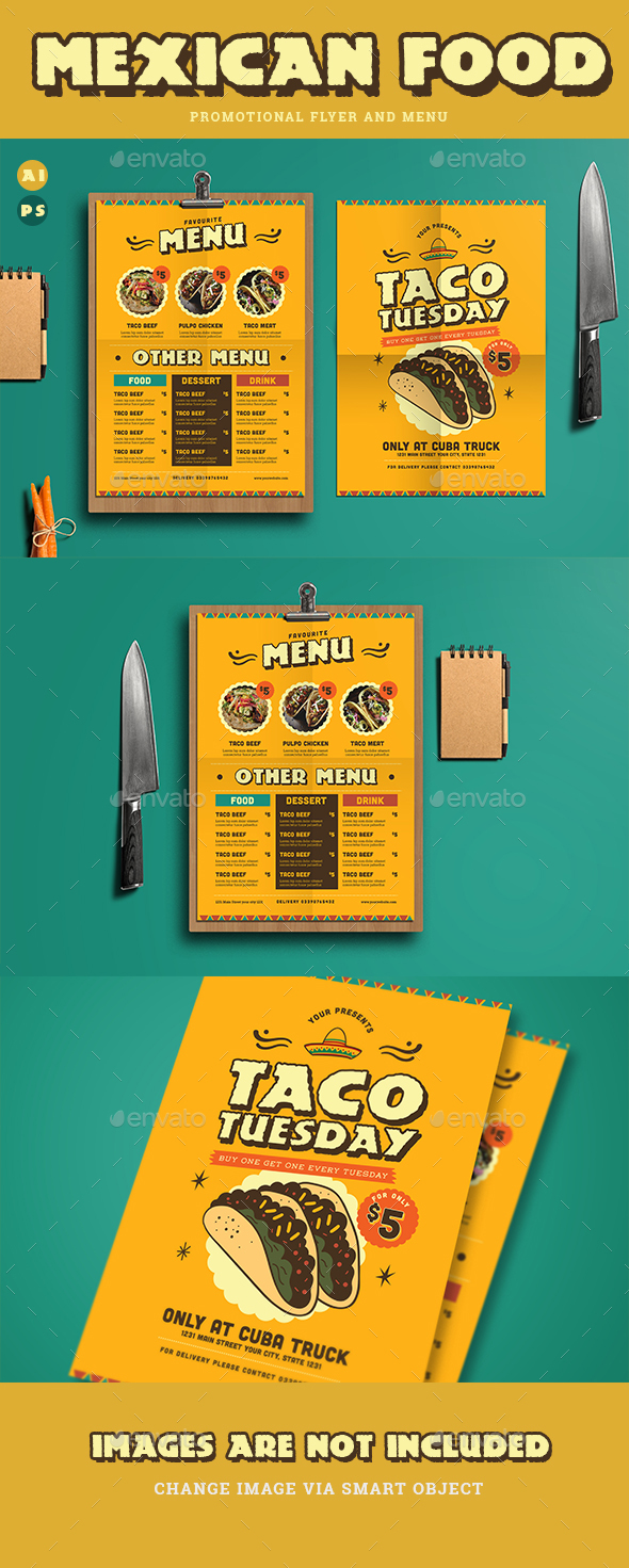 Mexican Food Menu+ Promotional Flyer - Restaurant Flyers