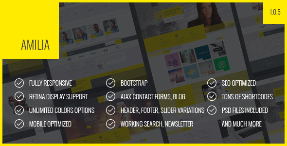 Amilia - Responsive Multi-Purpose Template - Corporate Site Templates
