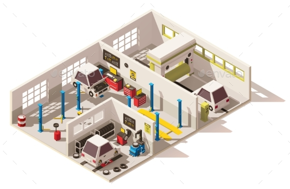 Vector Isometric Low Poly Car Service Center - Buildings Objects