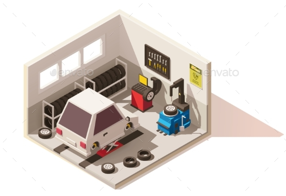 Isometric Low Poly Car Tire Service Icon - Buildings Objects
