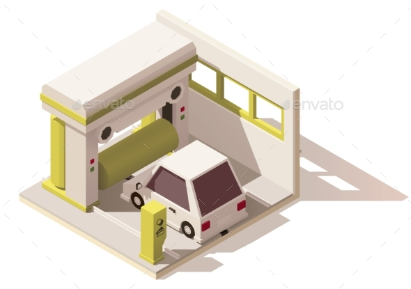 Isometric Low Poly Car Wash Icon - Buildings Objects