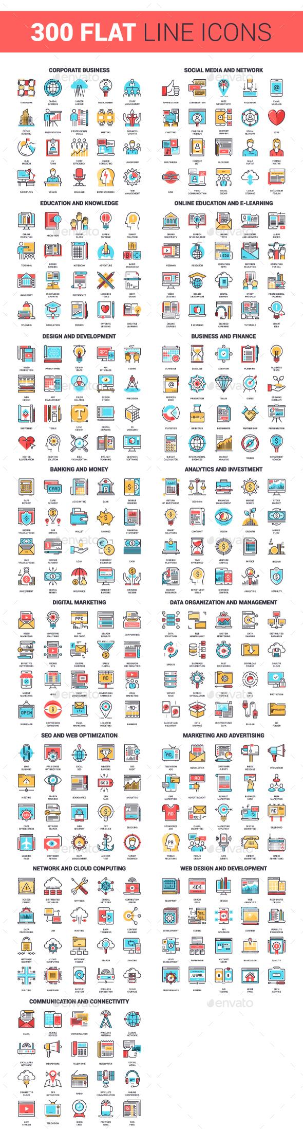 300 Flat Line Icons Bundle - Icons