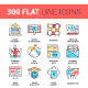 300 Flat Line Icons Bundle - GraphicRiver Item for Sale