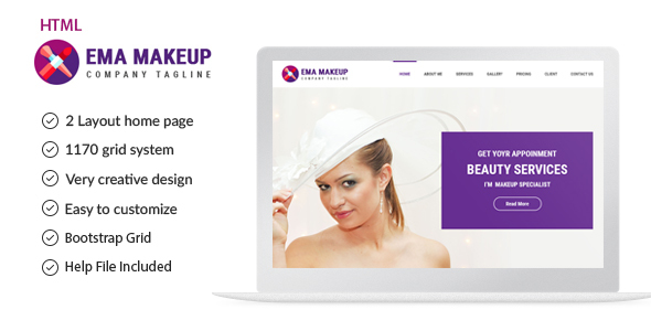Ema Makeup – One Page Beauty Salon Makeup HTML Template