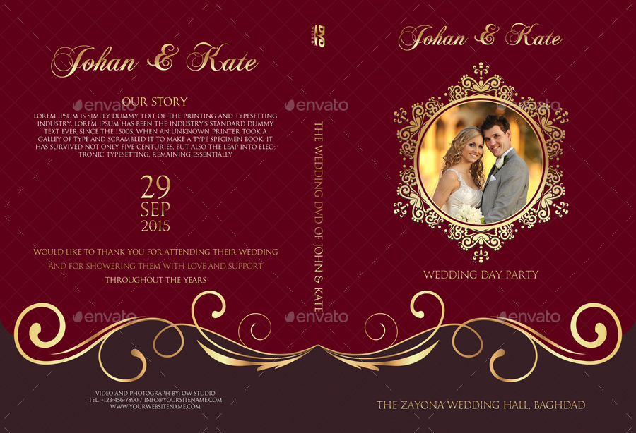 wedding dvd cover and dvd label template vol 9 by owpictures graphicriver. Black Bedroom Furniture Sets. Home Design Ideas