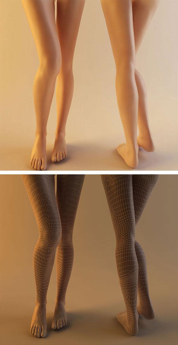 Photorealistic Woman Leg 3D Model Human Skin Material - 3DOcean Item for Sale