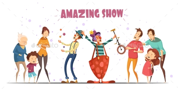 Amazing Show Laughing People Cartoon Illustration - People Characters
